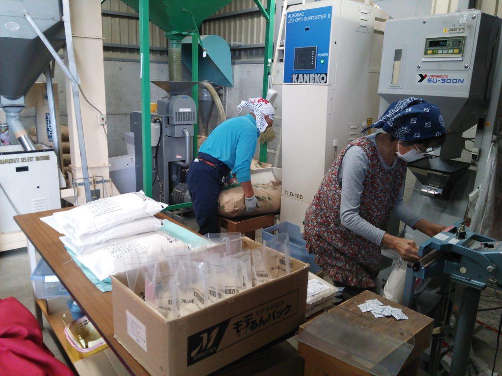 お米の袋詰め作業