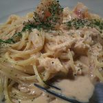 海老と帆立のカニクリームスパゲティ
